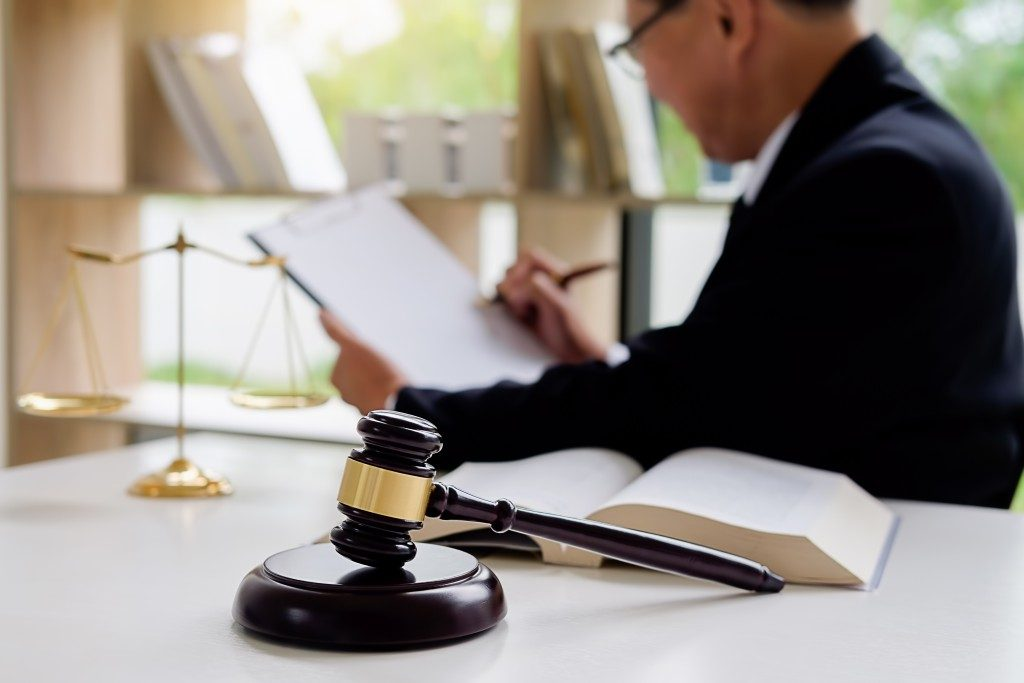 Lawyer reviewing a paper