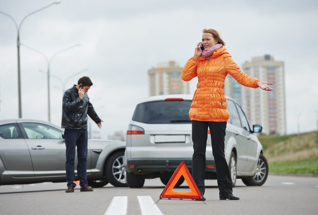 two people on the phone post-accident