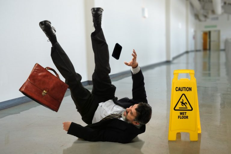 man slipping on the floor